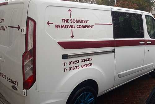The back of the Somerset Removal Company branded van